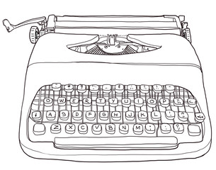 Two tone Typewriter vintage line art
