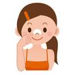 鼻パックをする女性