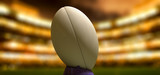 Rugby Ball In A Stadium Night