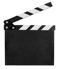 clear clap board isolated on white with clipping path included