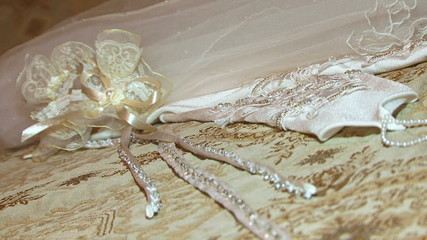 Bride's wedding accessories. Close-up