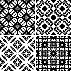 Set seamless damask pattern, design wallpaper. Vector