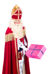 Sinterklaas is giving a present
