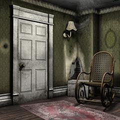 Zakurzony pokój z fotelem bujanym i lampą