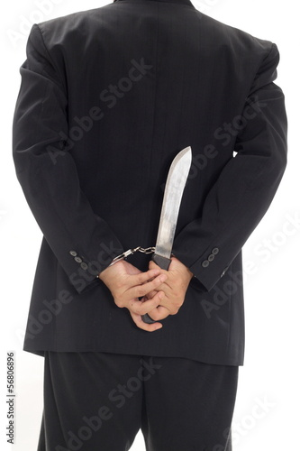Man with handcuff and knife - Keywords