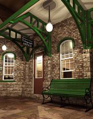 Kolorowa stacja kolejowa retro