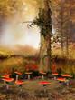 Drzewo i zaczarowany krąg z grzybów