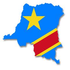 Carte / drapeau de la République Démocratique du Congo