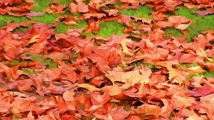 Cartoon style autumn landscape in a cartoon style