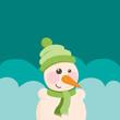 Funny Christmas postcard with snowman. Vector illustration