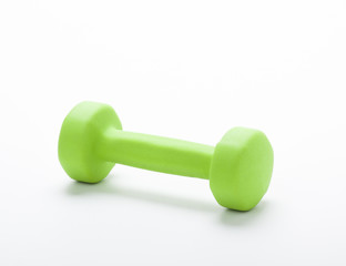small green dumbbell, isolated