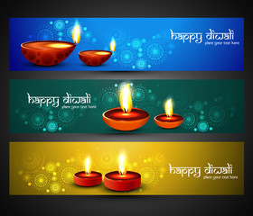 Happy diwali religious stylish colorful three set headers vector
