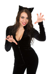 Woman dressed in catsuit