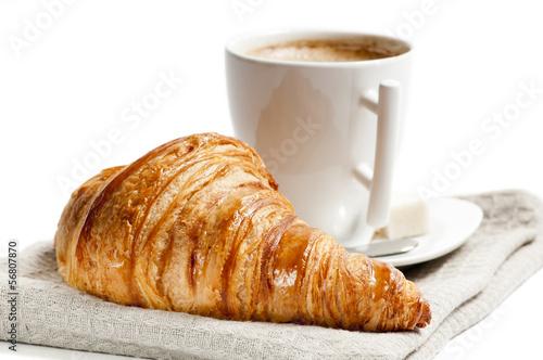 Fototapeta Tasse café et croissant