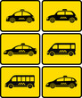 set of cars with taxi symbol