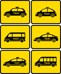 taxi cars set on yellow buttons