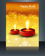 Happy diwali diya hindu festival brochure reflection template ve