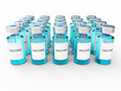 Blue vaccine  bottles on white background