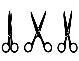 isolated  black scissors on white background