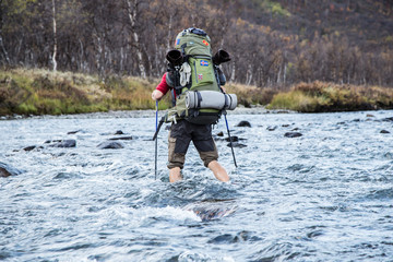Hiker River crossing