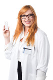 Young lady doctor showing medicine