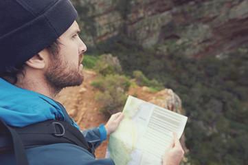 hiking map man