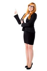 Corporate lady pointing upwards