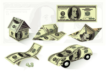 Dollar objects. Vector set.