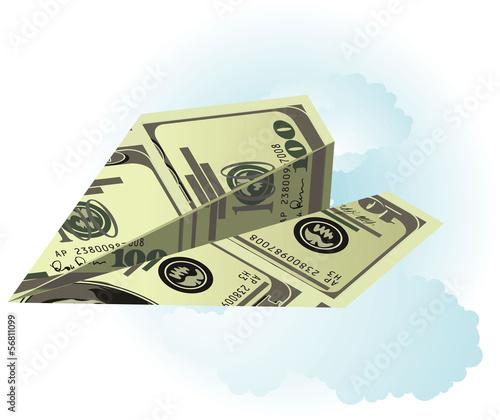 Dollar plane in the sky. Vector.