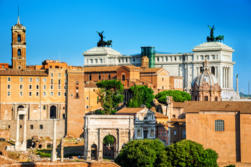 Roma, view of ancient palaces and imperial forum