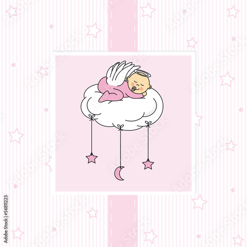 baby girl sleeping on a cloud. Birthday Card