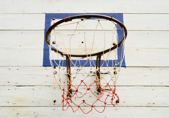 Closeup of old basketball hoop
