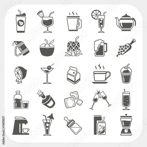 Beverage icons set