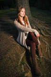 Fashion Model Female in Autumn or Spring Natural Colours Outfit