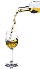 White wine pouring into the glass