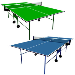 Ping pong blue and green table tennis. Vector illustration.