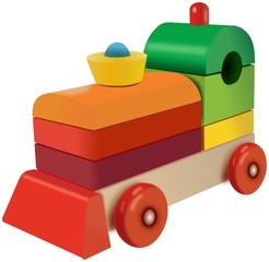 Small wooden cubes colored locomotive toy with flasher