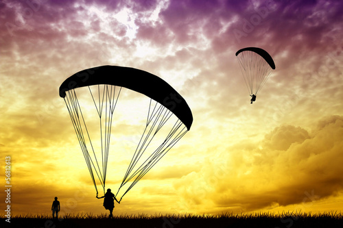 Paragliding at sunset