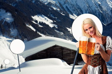 tiroler oktoberfest woman with beer and mountains of austria