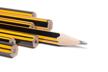 Sharpened Pencil leading the way on a white background