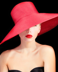 portrait of a beutiful lady in red hat