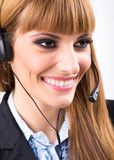 Smiling attractive woman with headphone
