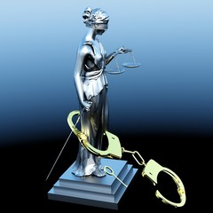 Lady of Justice  statue and handcuffs