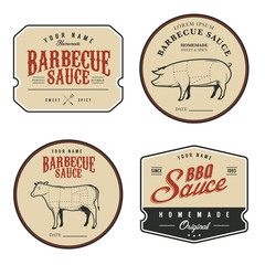 Set of vintage homemade barbecue sauce labels