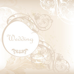 Wedding invitation card in white and grey with floral ornament