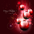 Luxury red Christmas background with baubles