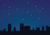Vector illustration of a city at night