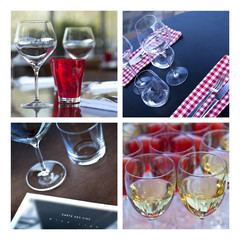 Verre, verrerie, vin, table, couvert, bar, brasserie, cave