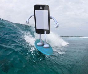 smartphone with arms and legs surfing on the sea