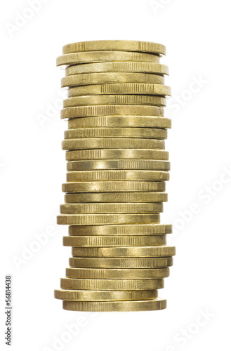 Crooked Stack of Shiny Gold Coins Isolated on White